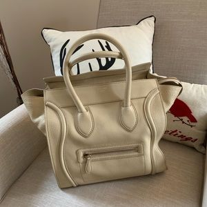 CELINE Mini Luggage Bag Cream Pebbled Leather 🎁